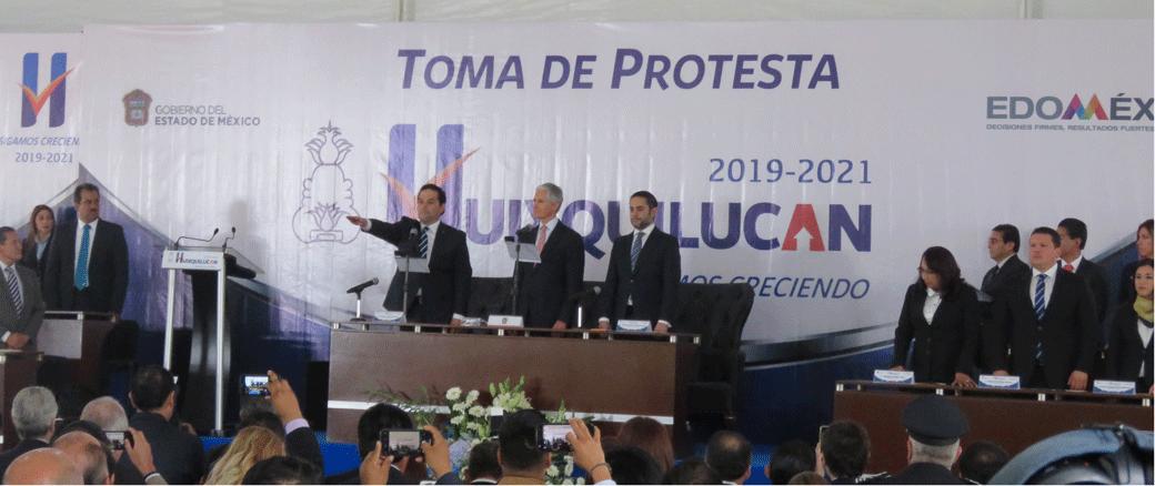 Enrique Vargas del Villar rinde protesta como alcalde de Huixquilucan para otro periodo ante el gobernador Alfredo del Mazo Maza