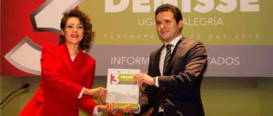 El secretario de Obra Pública del Estado de México, Rafael Díaz Leal Barrueta recibió el 3er Informe de gobierno de la alcaldesa, Denisse ugalde Alegría