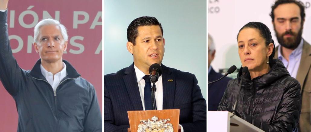 Los gobernadores del Estado de México, Alfredo del Mazo, Guanajuato, Diego Sinhue Rodríguez y de la Jefa de Gobierno de la Ciudad de México, Claudia Sheinbaum