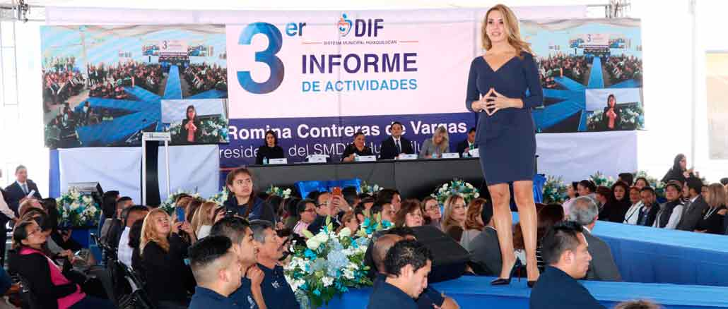 Romina Contreras de Vargas, presidenta del DIF de Huixquilucan, presentó su 3er Informe de Actividades