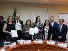 María Fernanda Rivera, Ricardo Fuertes, Kena Moreno, Patricia Durán Reveles, Liliana Gollas y Gustavo Parra Noriega en el convenio CIJ-Naucalpan
