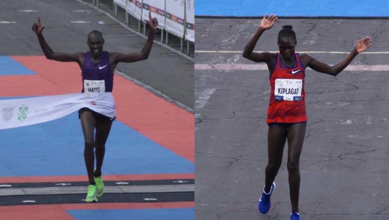 Los ganadores del Maratón Internacional de la Ciudad de México Duncan y Viviana