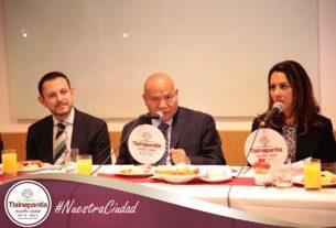 El presidente deTlalnepantla, Raciel Pérez Cruz, menciona las actividades para reducir la violencia de género