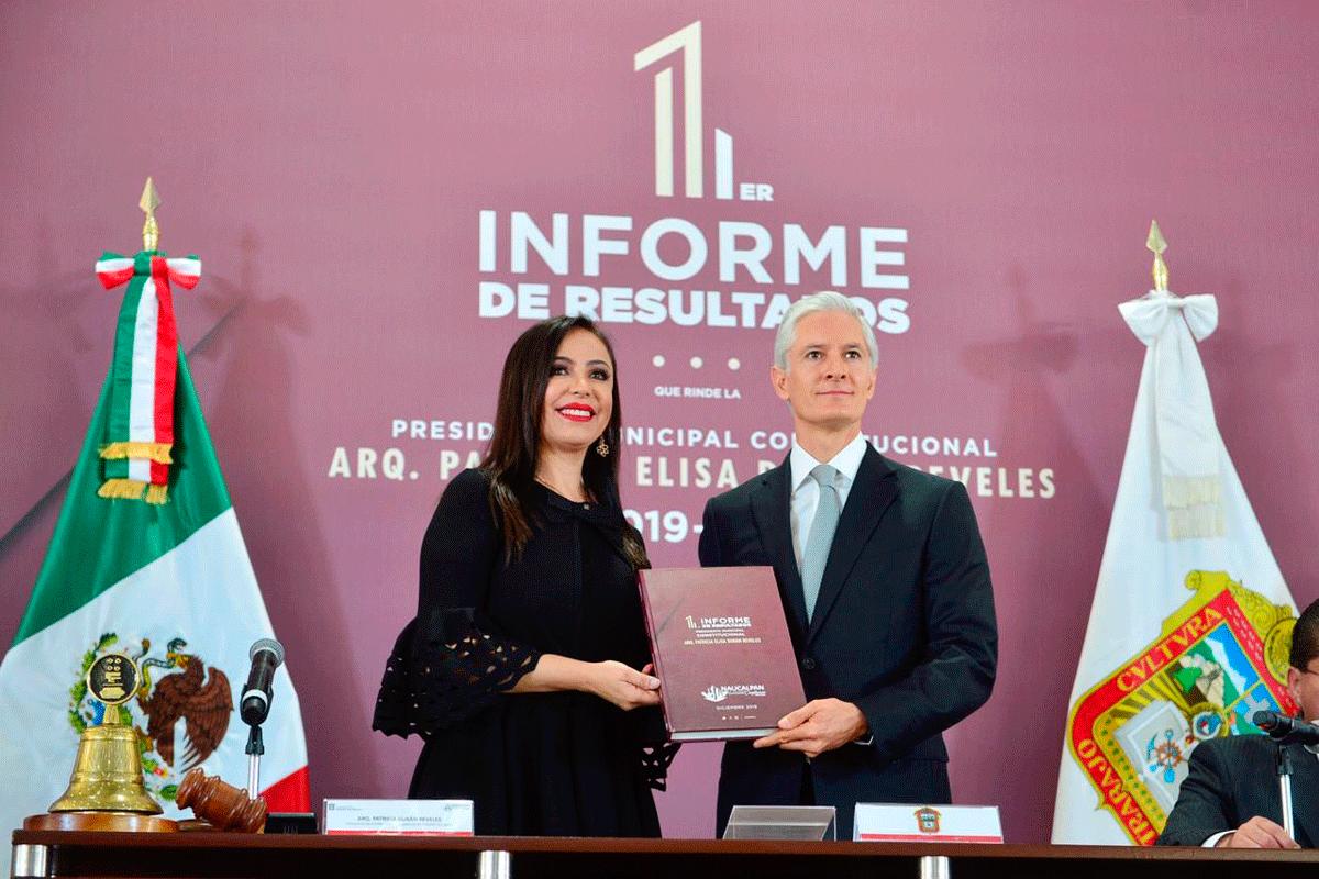 La alcaldesa de Naucalpan, Patricia Durán Reveles entrega 1er Informe de Gobierno al gobernador Alfredo del Mazo
