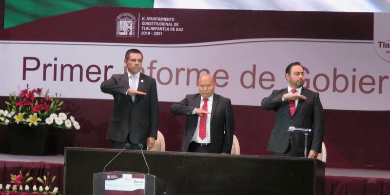 El alcalde de Tlalnepantla, Raciel Pérez Cruz, en 1er Informe de Gobierno con el secretario de Desarrollo Económico del Estado de México, Enrique Jacob Rocha
