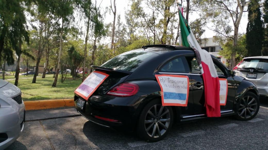 Entre los cientos de autos en Caravana AntiAMLO destaca la Bandera Nacional