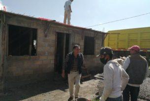 Hogares decorosos para los habitantes de Almoloya de Juarez en construcción
