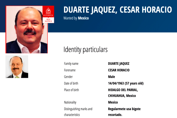 La ficha de César Duarte en Estados Unidos