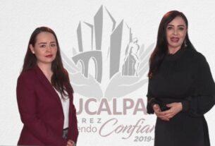 Secretaria técnica del Consejo Municipal de Seguridad Pública, Georgina González Moreno y la alcaldesa Patricia Durán Reveles