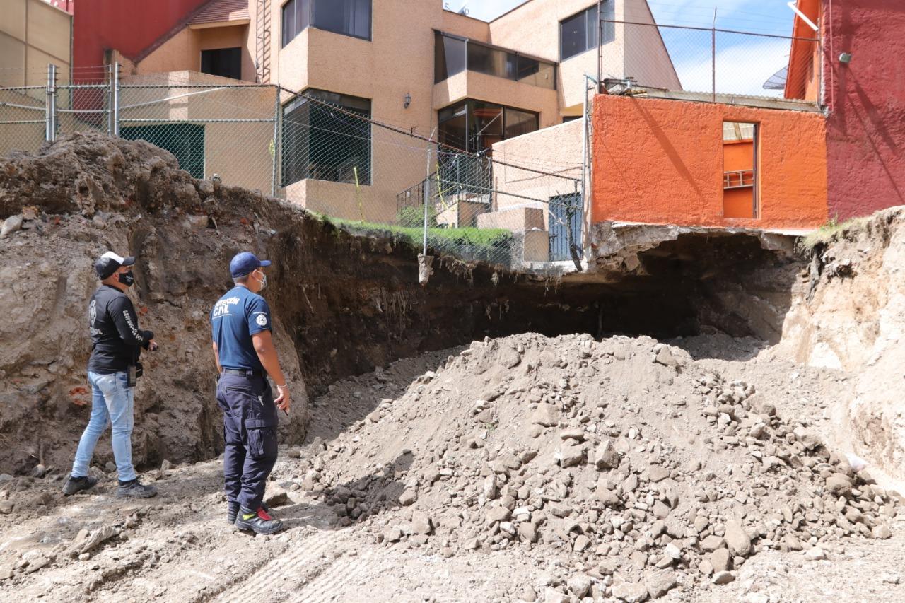 Logran estabilizar dos casas afectadas por hundimiento en Naucalpan