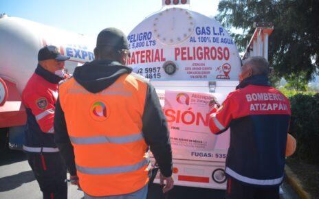 Encuentran irregularidades en pipas de gas en Huixquilucan
