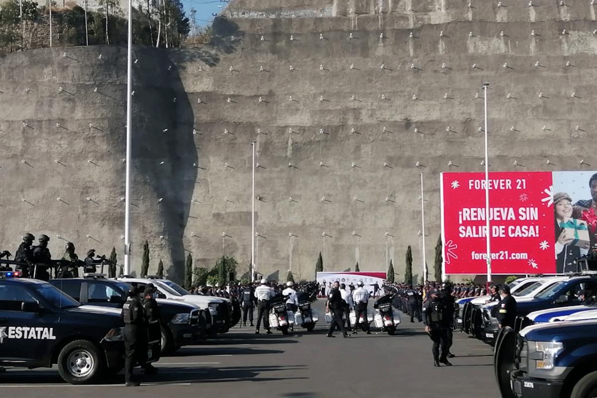 Efectivos de la Guardia Nacional, estatales y municipales en acciones en Naucalpan