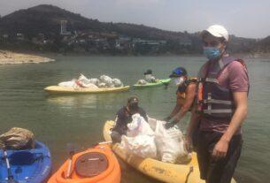 Ciudadanos de Atizapán y Naucalpan limpian la presa Madín